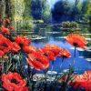 Schilderen op nummer - Rode bloemen bij meer 💐