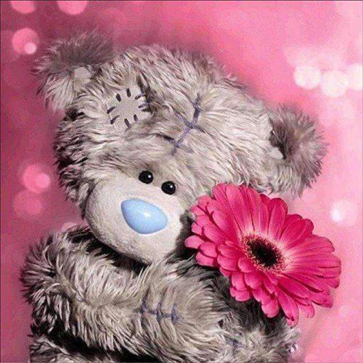 Schilderen op nummer - Beertje knuffelt bloemen 💐