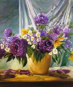 Schilderen op nummer - Bloemen in gouden vaas 💐