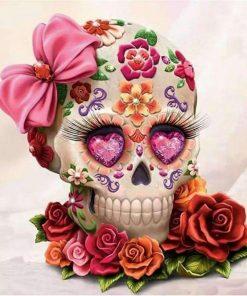 Schilderen op nummer - Bloemen schedel 💐