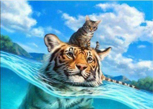 Schilderen op nummer - Kat en tijger in zee