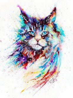 Schilderen op nummer - Kleurrijke Waterverf Kat