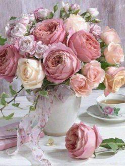 Schilderen op nummer - Roze bloemen 💐