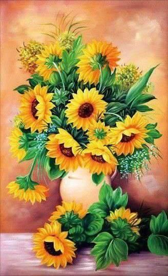 Schilderen op nummer - Zonnebloemen in vaas 💐