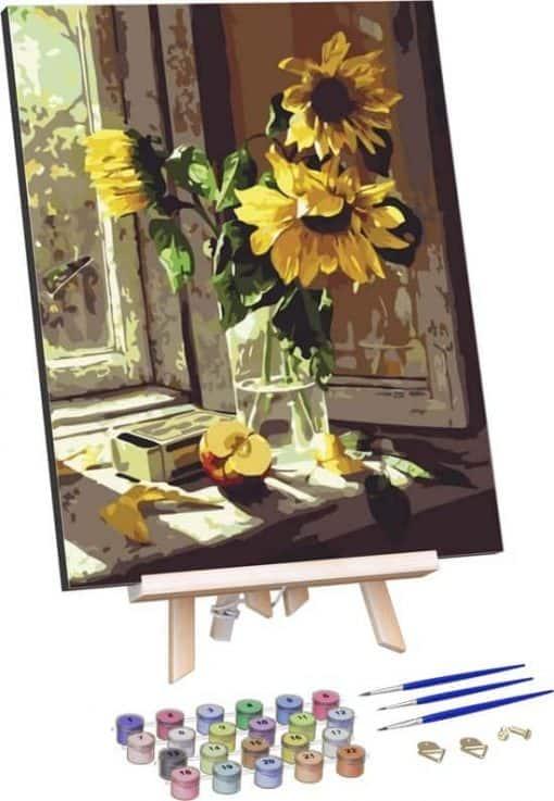 Zonnebloemen in Vaas
