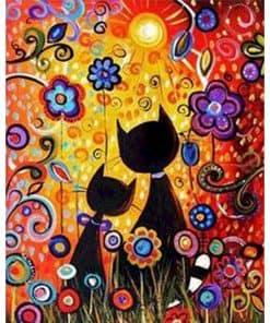 bloemen en 2 katten